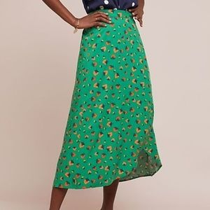 Anthropologie Faux Wrap Green Skirt